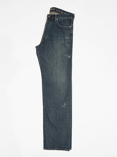 Okome Denim Front River in Distressed Indigo
