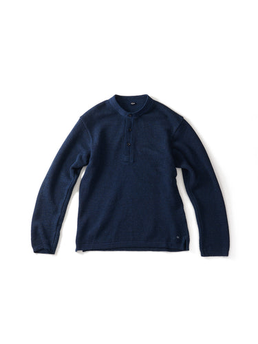 Kanoko Henley Neck T-Shirt in Indigo