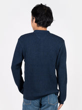 Mens's Indigo Waffle Henley Neck Long Sleeve T-Shirt