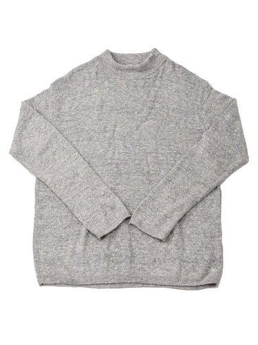 Yorimoku Super Gauze Cotton Mock Neck Long Sleeve T-shirt in grey
