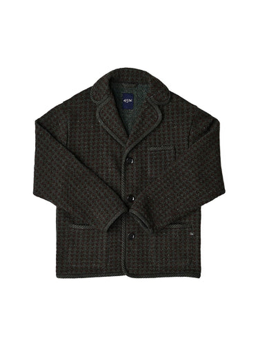 Cotton Shetland Wool Tweed Tyrolean Jacket in brwon x green