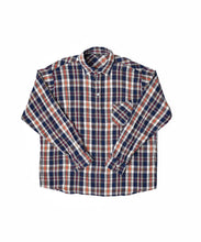 Indian Cotton Flannel Ocean Button Down Shirt in navy check