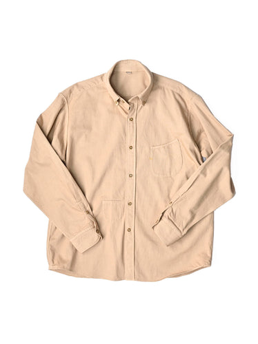 Goma Chino Cotton Small Collar Ocean Shirt in beige
