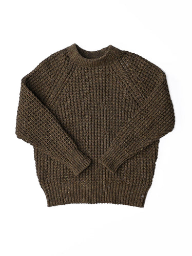 Wool Bou Big Waffle Sweater in khaki