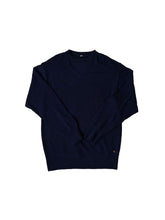 Camellia Wool Knit Sew Sweater in navy