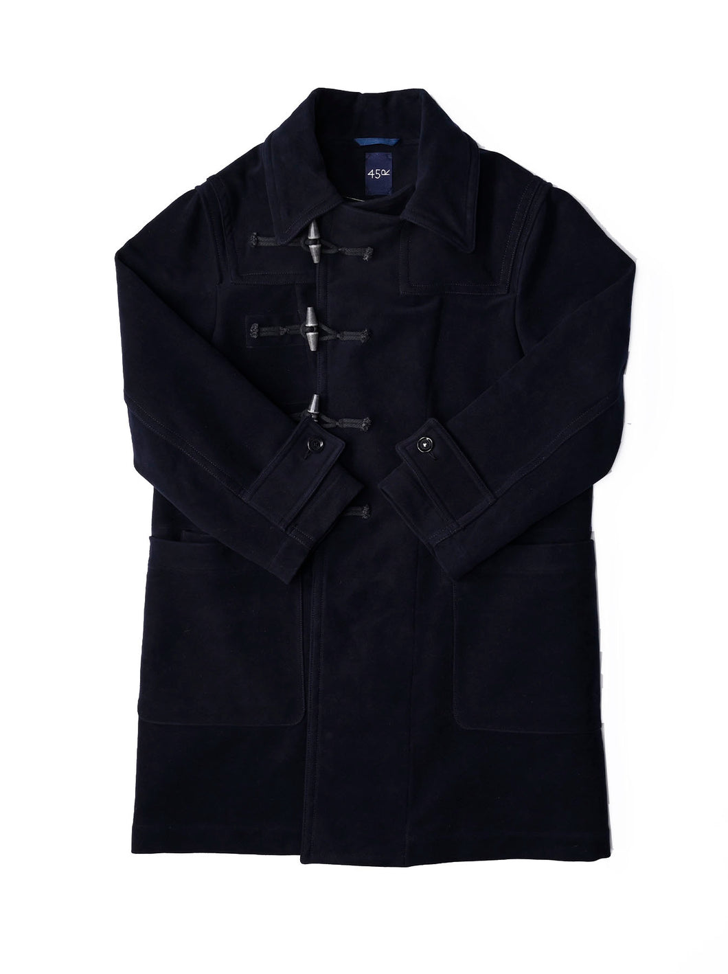 Atsu Atsu Cotton Flannel Hayama Duffle Coat in navy
