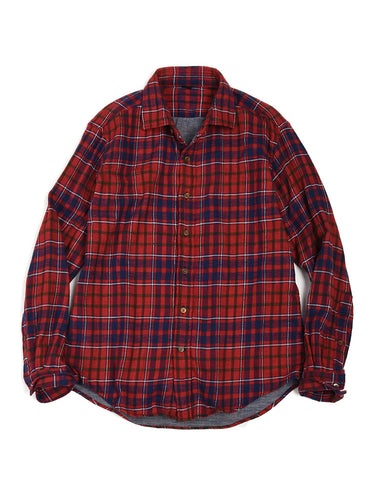 Double Cloth Check Regular Shirt in Red