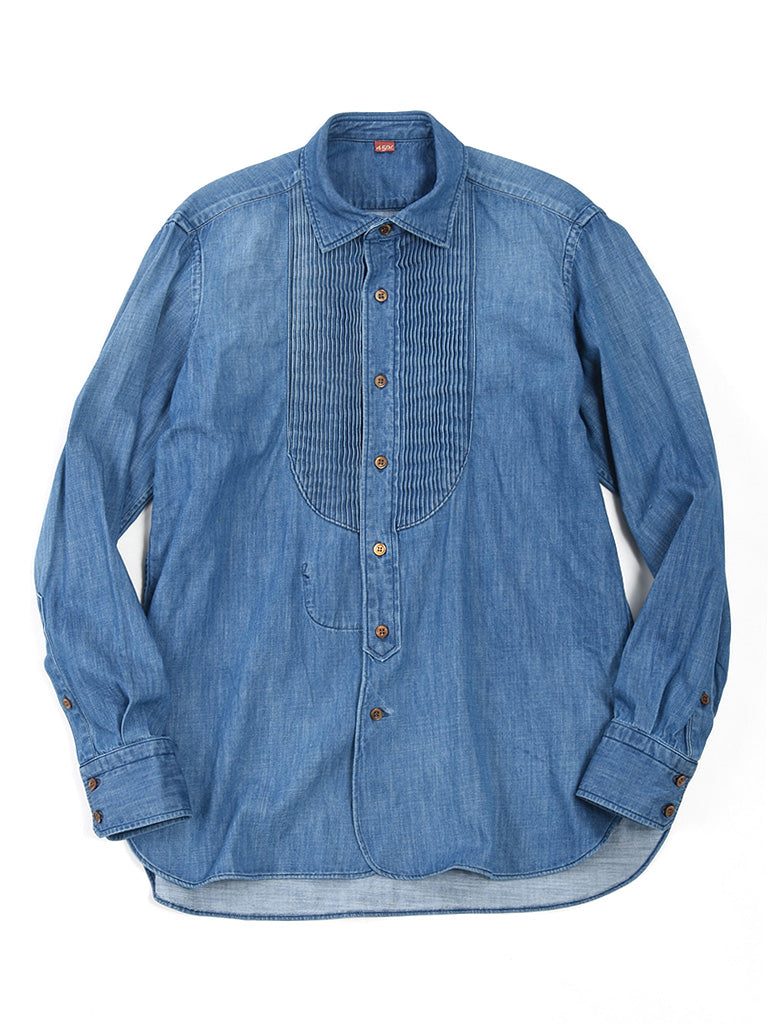 Goma Denim Pintuck Shirt in Indigo
