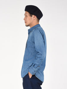 Cotton Denim Pintuck Shirt