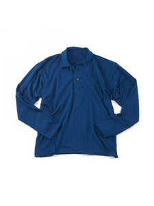 Indigo Dekoboko Tenjiku Long Sleeve Polo T-shirt