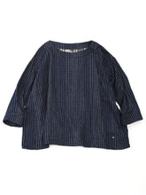 Indigo Double Woven After Dye Uma T-Shirt in Stripe