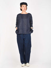 Indigo Double Woven After Dye 3/4 Sleeve Blouse