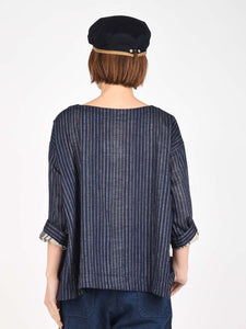 Women's Indigo Cotton Double Woven After Dye 3/4 Sleeve Blouse