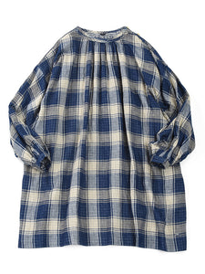 Indigo Double Woven Gather Tunic in Check