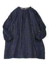 Indigo Double Woven Gather Tunic in Stripe