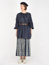 Women's Indigo Cotton Double Woven Gather Tunic
