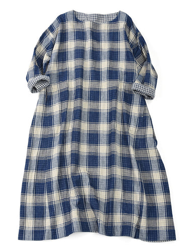 Indigo Double Woven Reversible Dress in Check