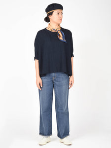Indigo Cotton Super Gauze 3/4 Sleeve Big T-Shirt