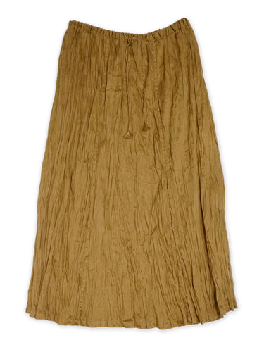 Cotton Linen Kushukushu Skirt in Golden Brown