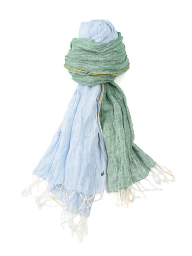 Indian Linen Chambray Stole in Green and Light Blue