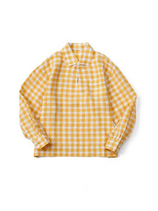 Linen Gingham Check Pullover Shirt