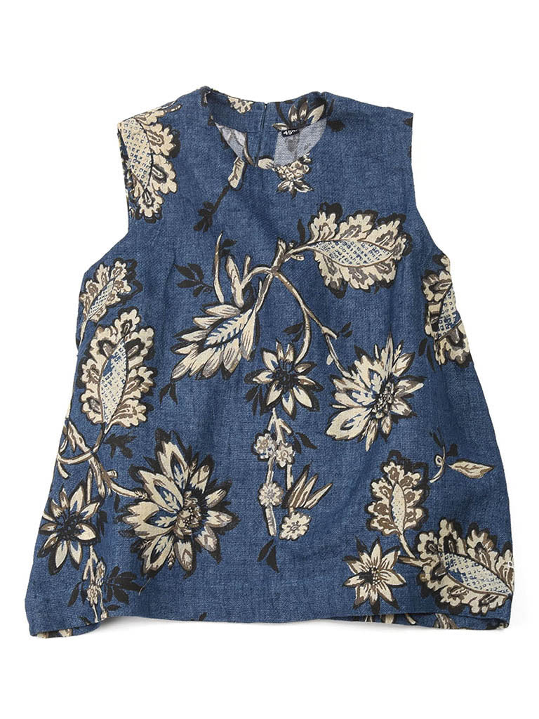 Cotton Linen Double Woven Sleeveless Top in Ai Blue