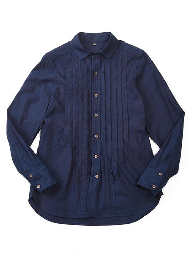 Indigo Oxford Pintuck Shirt in Indigo