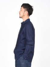 Indigo Oxford Cotton Pintuck Shirt