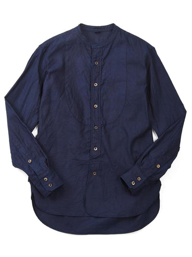 Indigo Oxford Stand Collar Shirt in Indigo
