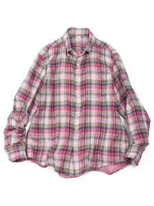Double Woven Madras Shirt in Pink