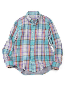 Double Woven Madras Shirt in Turquoise