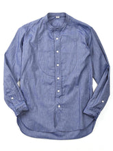 Oxford Stand Collar Shirt in Blue Chambray