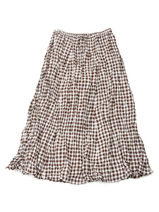 Gingham Skirt in Brown