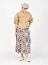 Women's Cotton Linen Gingham Skirt