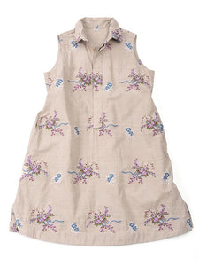 Cotton Linen Jacquard Sleeveless Tunic in Bouquet Beige