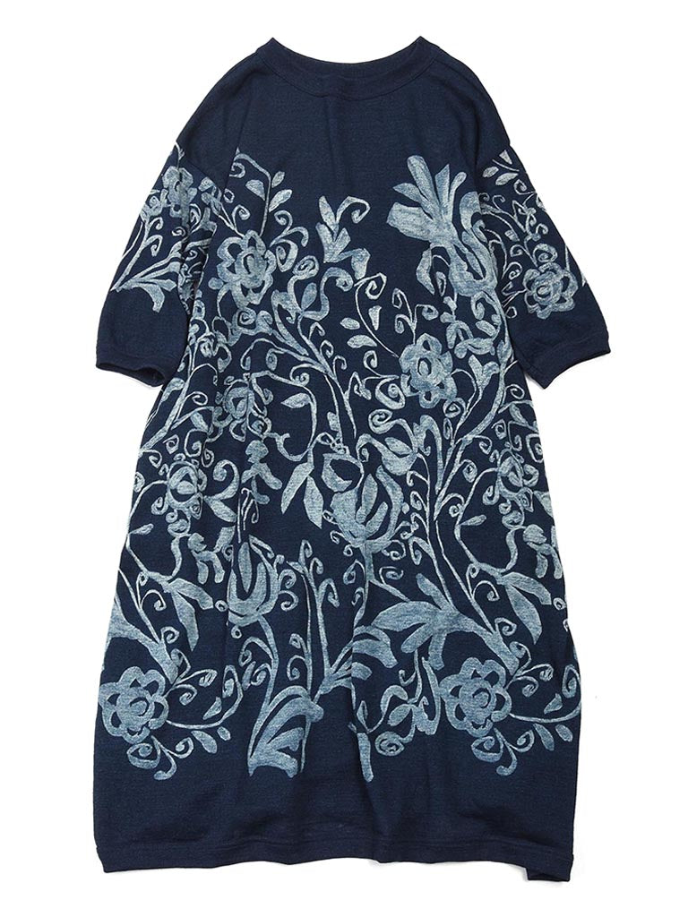 Indigo Cotton Knit Discharge Flower Print Dress in Indigo