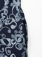 Indigo Cotton Knit Discharge Flower Print Dress