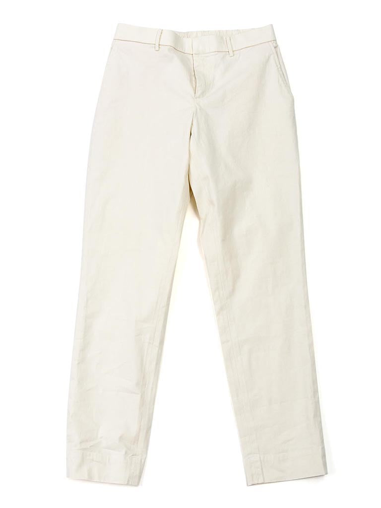 Cotton Linen Oxford Stretch Easy Slim Pants in White