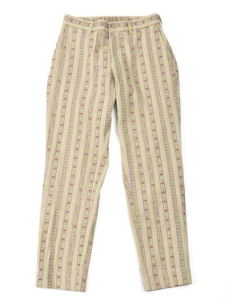 Cotton Linen Jacquard Easy Slacks in Stripe Beige