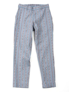 Cotton Linen Jacquard Easy Slacks in Stripe Sax