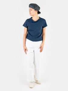 Women's Indigo Cotton Short Sleeve T-Shirt