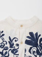 Cotton Knit Flower Print Cardigan