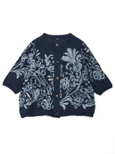 Indigo Cotton Knit Flower Print Cardigan in indigo