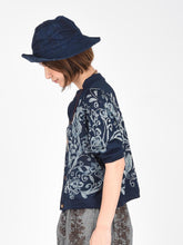 Indigo Cotton Knit Flower Print Cardigan