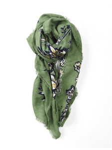 Supima Organic Flower Print Stole in Green