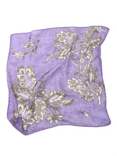 Supima Organic Gauze Flower Print Bandana in Purple