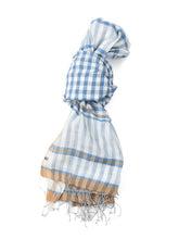 Run Run Gimgham Stole in blue gingham
