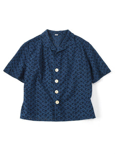 Indigo Tapet Cutwork Square Blouse in distress indigo
