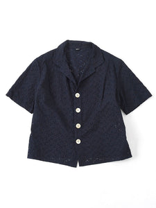Indigo Tapet Cutwork Square Blouse in indigo