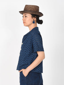 Indigo Tapet Cotton Cutwork Square Blouse